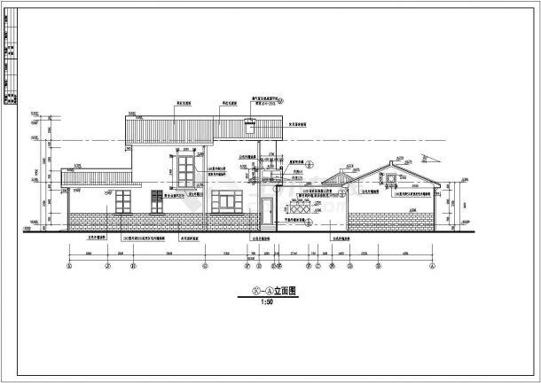 某中式古典别墅建筑详细设计施工方案CAD图纸-图二