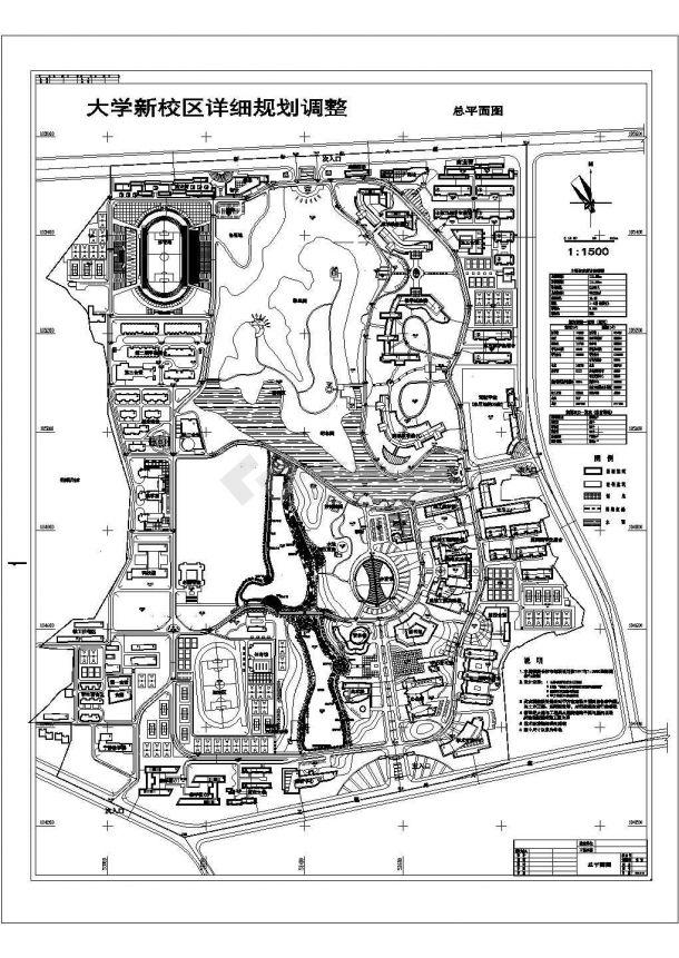 某大学景观规划设计cad总平面施工图纸(含技术经济指标)-图一