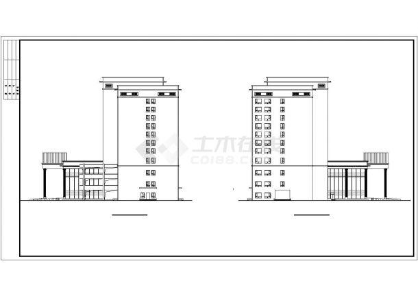 某多层框架结构五星酒店公共建筑部分设计CAD立剖面方案图纸-图一