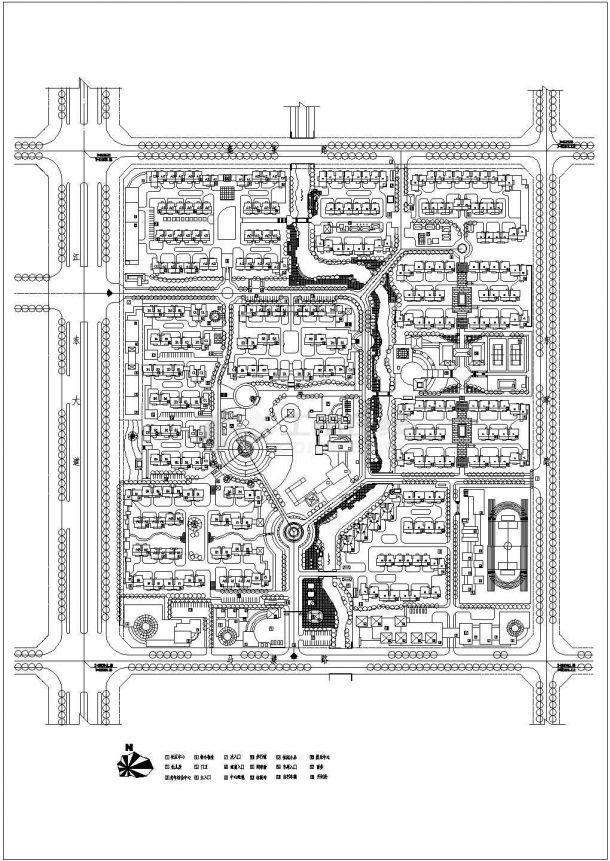 某长方形地块多层住宅小区规划设计cad总平面方案图(标注详细)-图一