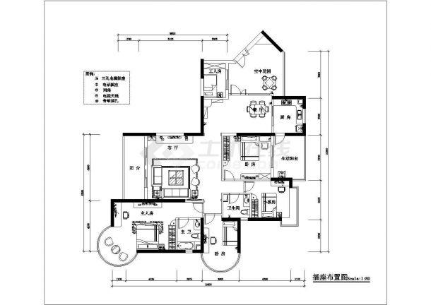 某高档私人住宅(四室两厅)室内装修设计cad图纸-图二