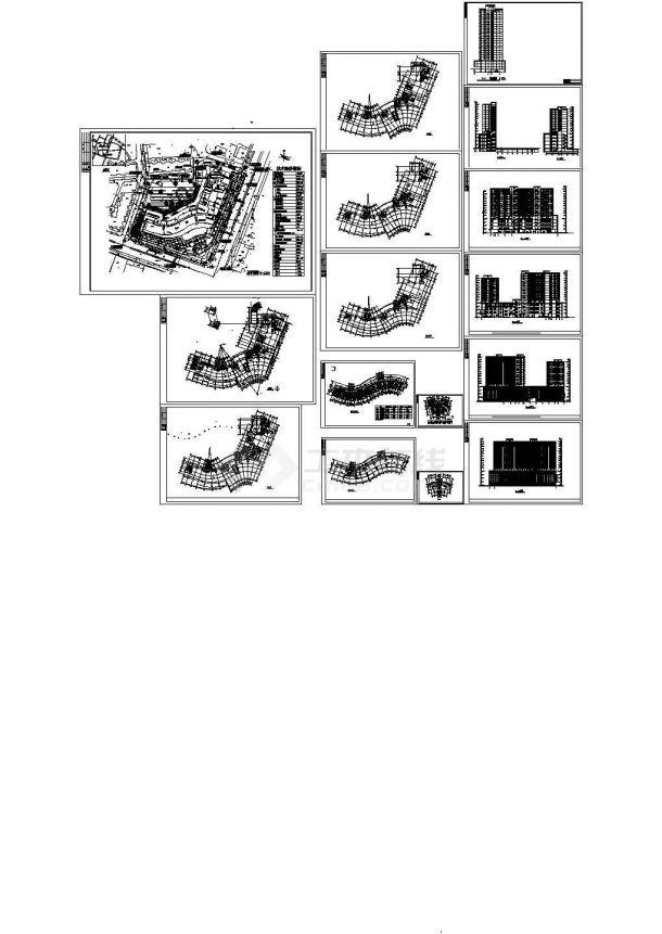 36001平方米高层商住楼全套规划设计施工cad图,共十六张-图二