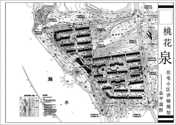 桃花泉小区(规划总用地9.16ha)规划设计cad总平面施工图(含经济技术指标,含设计说明)-图二