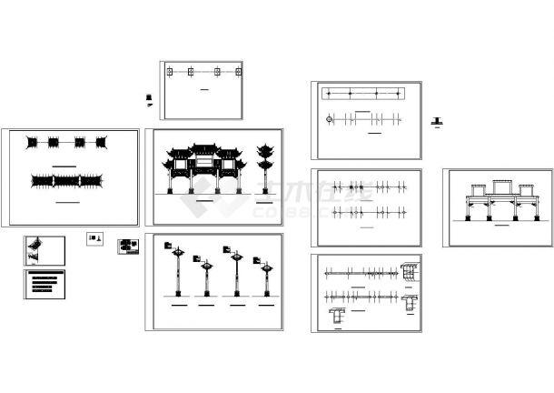 牌坊成套建筑设计施工图-图二