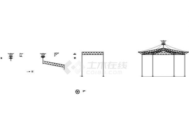 某公园六角伞膜结构工程设计cad全套施工图(含设计说明,15张图)-图二