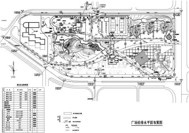 广场给排水CAD设计平面布置图-图一