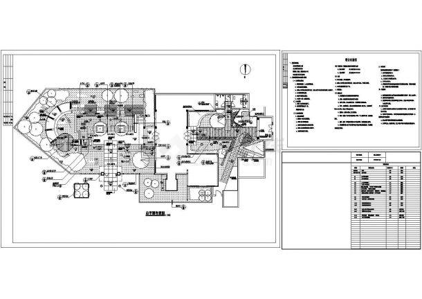 某售楼部详细规划设计cad施工总平面布置图(含设计说明)-图一