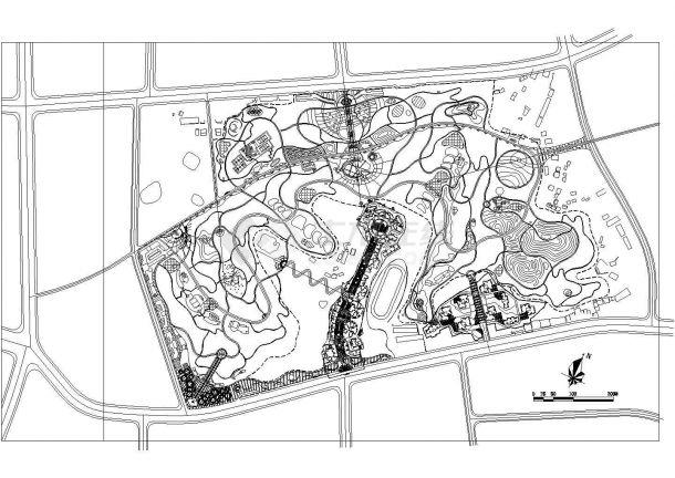 达州市某县城文化公园景观设计CAD图纸-图一