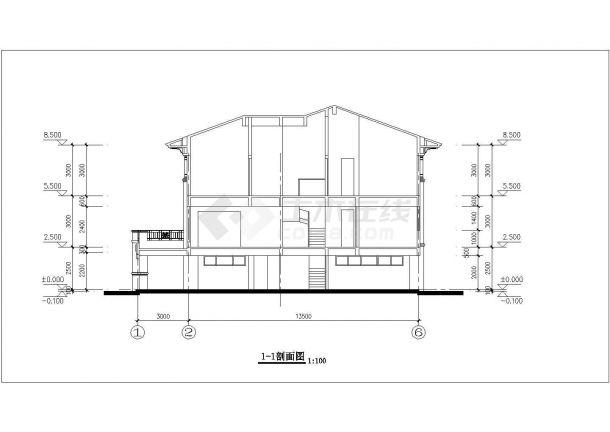 350平米三层框架结构单体别墅平立剖面设计CAD图纸(含总平面图)-图一