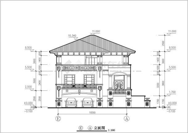 350平米三层框架结构单体别墅平立剖面设计CAD图纸(含总平面图)-图二