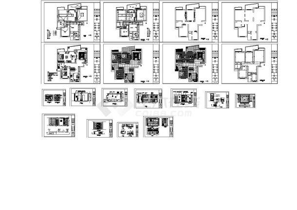 某三房二厅户型私人住宅室内装修设计cad全套施工方案图(标注详细)-图一