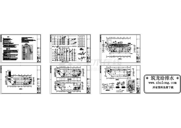某医院病房楼给排水CAD设计图纸-图一