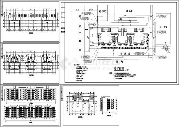 某多层框架结构住宅楼(占地面积3640.63㎡)设计cad全套建筑施工图(含技术指标)-图二