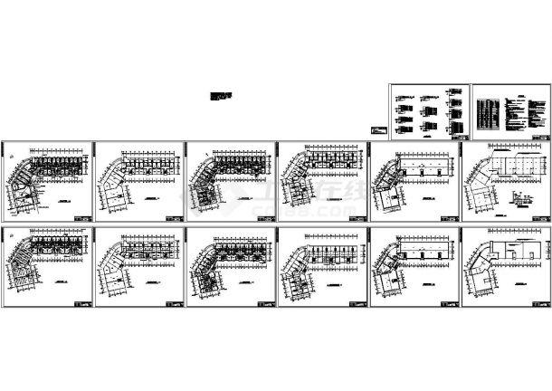 6900平米4层框架结构住宅楼设计CAD施工图-图二