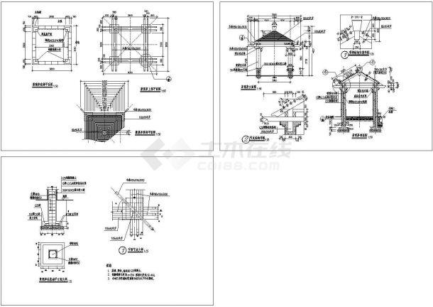 现代观景亭建筑设计施工图-图一