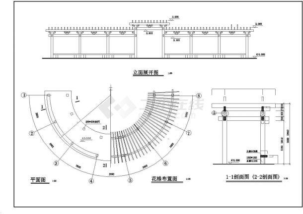 半圆形花架建筑设计施工图-图一