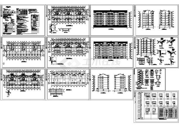 某三个单元多层框架结构住宅楼(3961㎡)设计cad全套建筑施工图纸(含设计说明)-图一