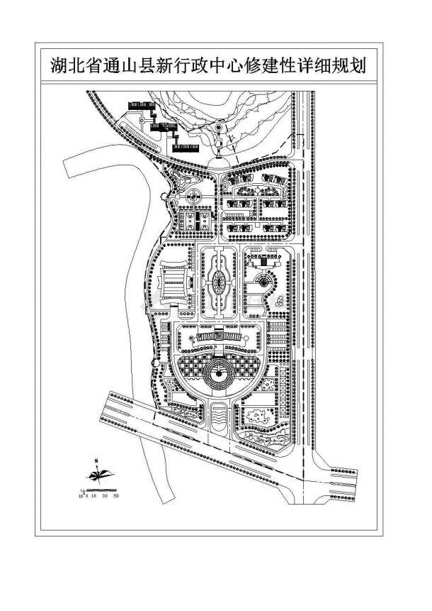 某行政中心修建性规划设计详细施工方案CAD图纸-图一