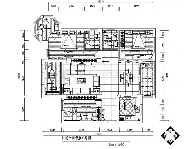黑白经典风格住宅楼装修设计施工cad图纸-图二