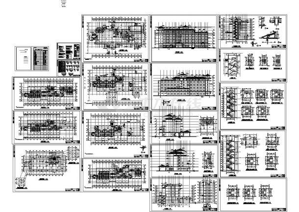 山水大酒店六层住宅建筑设计施工cad图纸,共十九张-图一