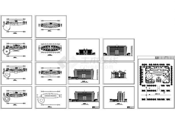 华尔道夫酒店高层住宅建筑设计施工cad图纸,共十五张-图一