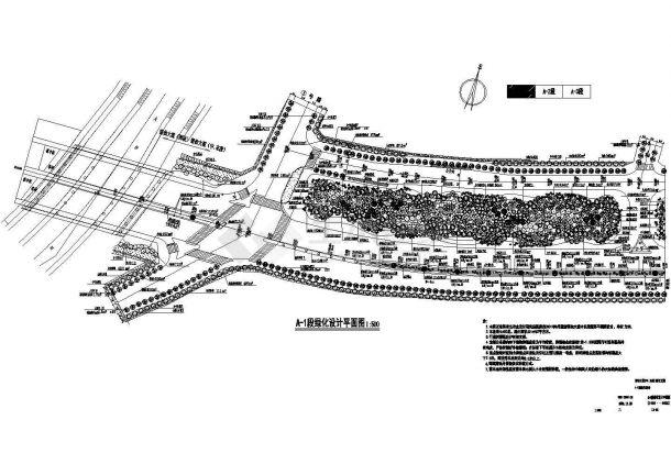 景观大道全套园林绿化施工图.(甲级设计院设计,标注详细)-图一