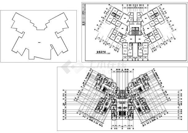 安阳高层塔式户型住宅建筑设计施工cad图纸,共三张-图一