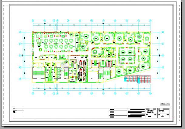 某2000平米全国连锁新概念饭店室内装修设计cad全套施工图(含设计说明,含效果图)-图二