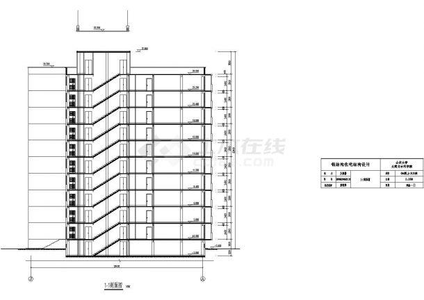 1万平方米十层带半地下室钢框架结构住宅建筑施工cad图(含计算书,毕业设计)-图二