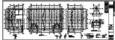 某市二层带地下室钢筋混凝土框架结构站房和站台雨棚结构施工cad图_站台雨棚施工-图二