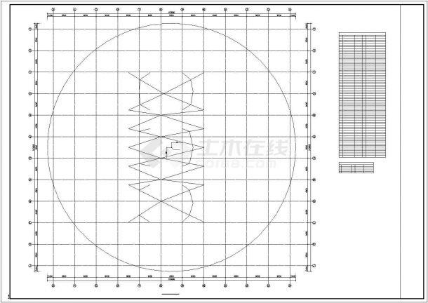 【最新】某钢结构单层网壳屋面设计方案CAD图纸-图一