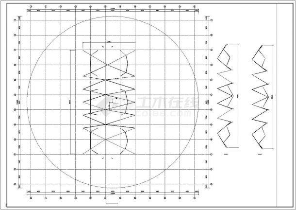 【最新】某钢结构单层网壳屋面设计方案CAD图纸-图二