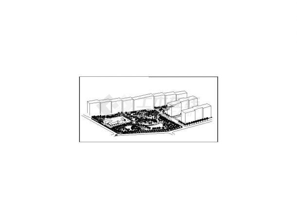 月牙广场绿地设计cad图(含总平面图)-图二
