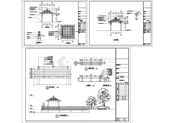 滨水景观亭子设计施工图-图一