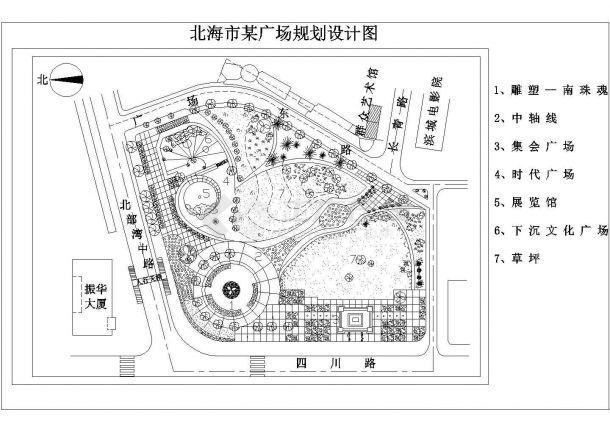 某市某广场规划设计cad图(含总平面图)-图一