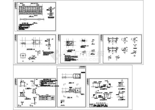 某工厂 大门结构建筑cad施工方案图大样图-图二
