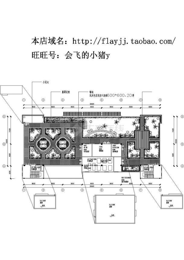 某办公楼的屋顶花园设计cad图-图二