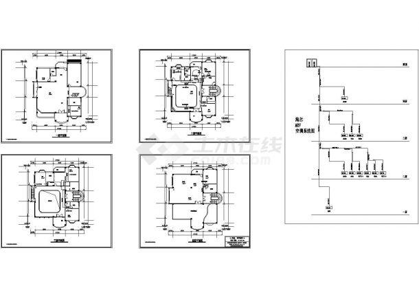 某多层砖混结构别墅MRV空调设计cad全套施工方案图纸(甲级院设计)-图一