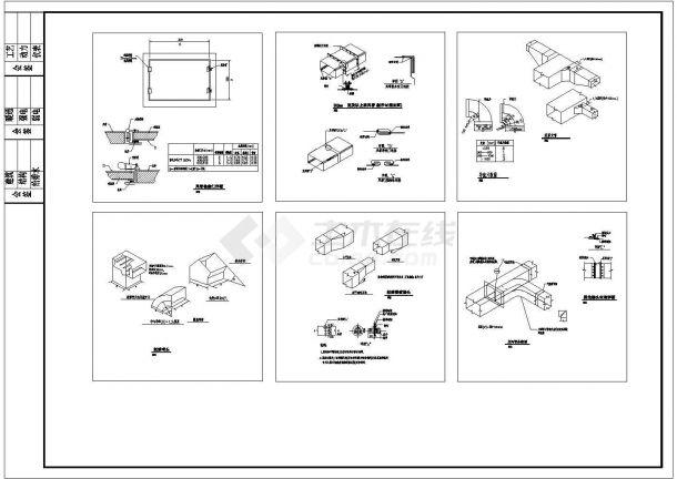 典型风管安装节点cad大样图图集(甲级院设计)-图二