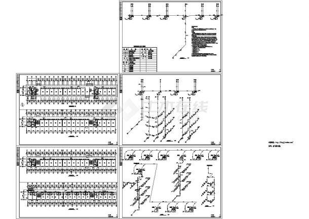 4层宿舍楼给排水施工图纸【各层给排水平面图 给排水轴侧图】-图一