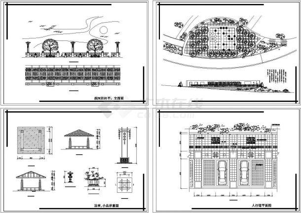 重庆某公园小广场环境景观设计cad图,共四张-图二