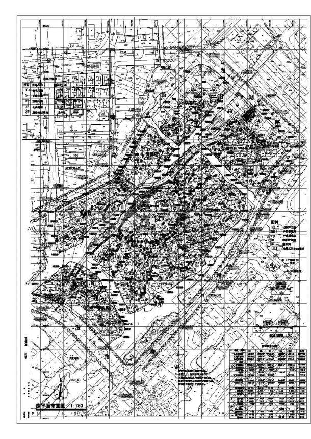 某大型居住小区(总用地面积138994㎡)规划设计cad施工总平面图(含技术经济指标)-图二
