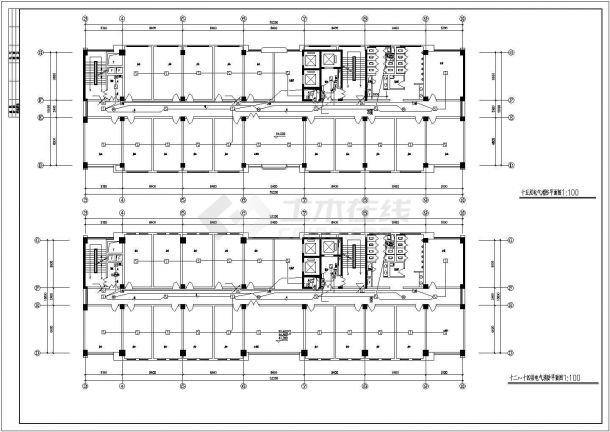 办公楼设计_卫生厅办公楼电气施工图 cad图纸-图一