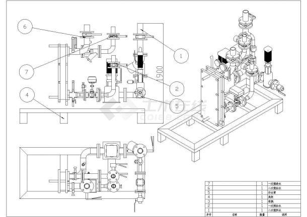 典型组合式换热机组设计cad总装配施工大样图-图一