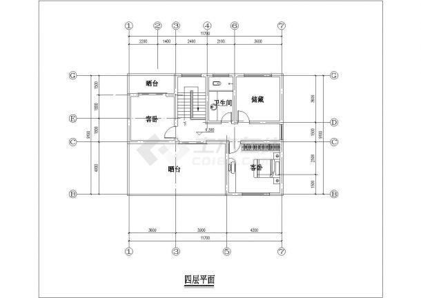 沧州市某小区461平米4层框混结构独栋别墅平立剖面设计CAD图纸-图一