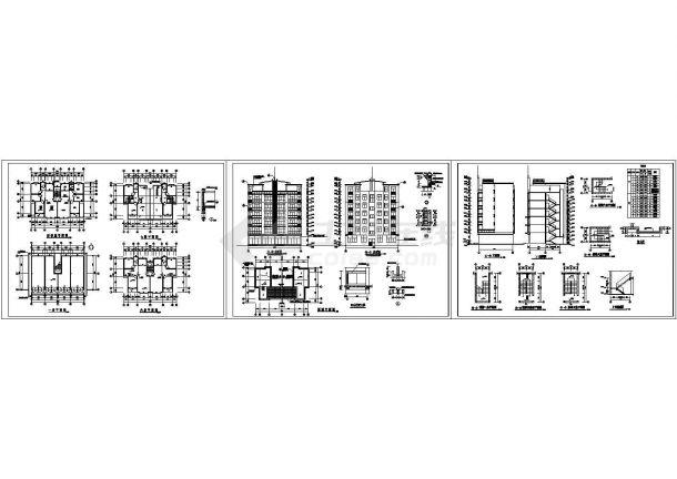 七层住宅楼全套建筑施工cad图,共十五张-图二