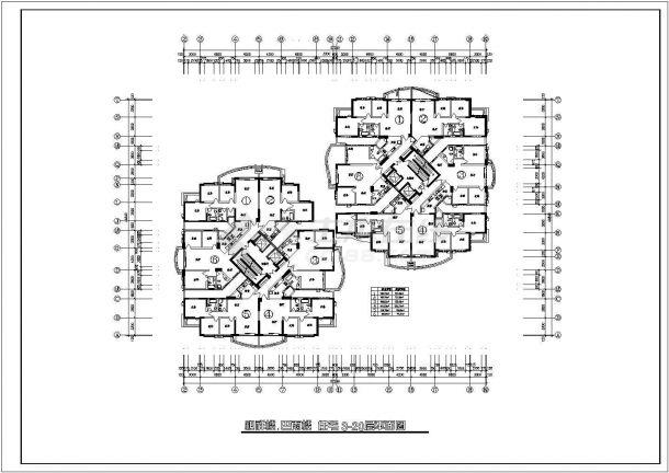 高层住宅户型设计方案施工CAD图-图一