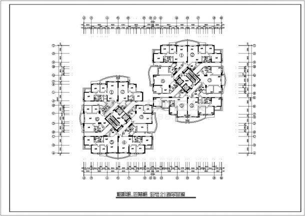 高层住宅户型设计方案施工CAD图-图二