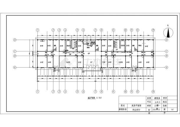 某四层框架结构商业办公楼毕业设计cad建筑施工图(含设计说明,含结构设计,含计算书)-图二