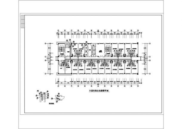 长62.4米 宽56.7米 -1+17层宾馆水施【各层平面 1-4层喷淋平面 17层给排水连接管平面 卫生间大样 屋顶水箱大样 消防喷淋给排热水系统】cad图纸-图二